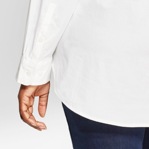 26781892ec4511 Women s Plus Size No Gap Button-Down Long Sleeve Shirt - Ava   Viv™ White.  Shop all Ava   Viv