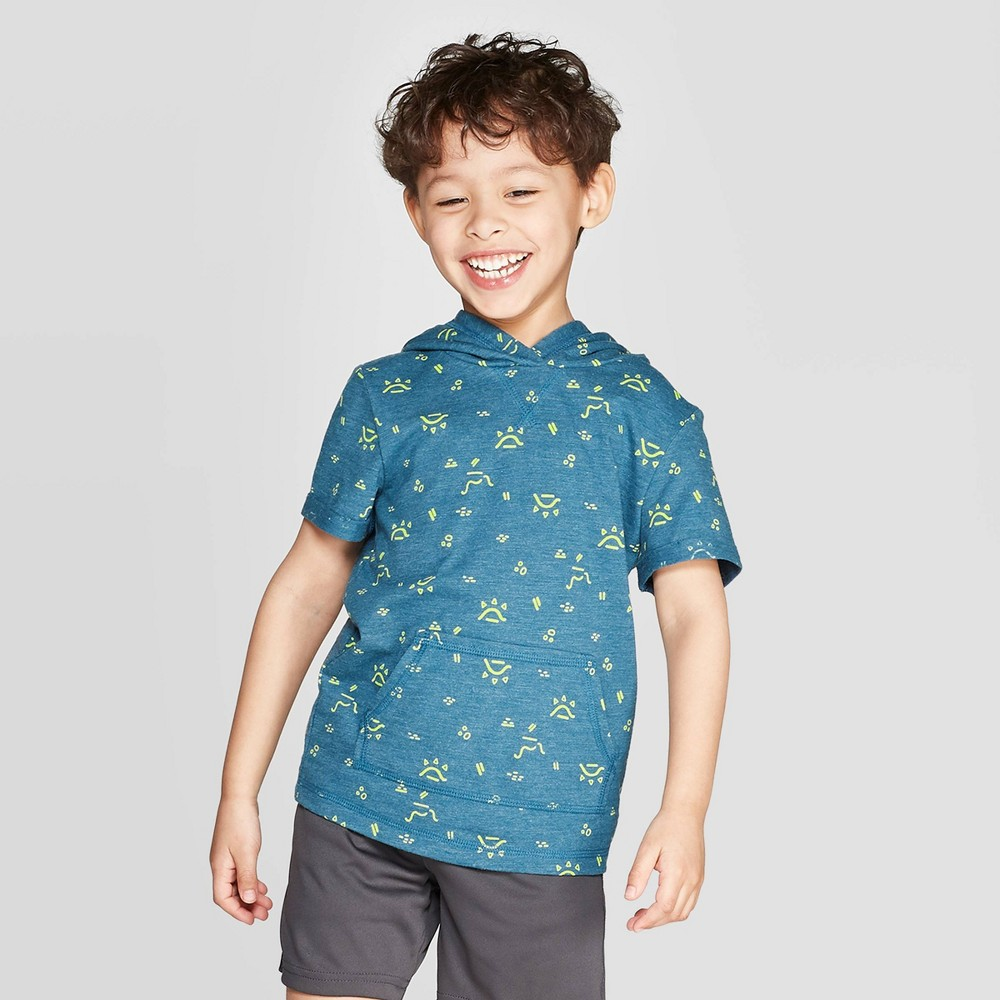 Toddler Boys Printed Hoodie T-Shirt - Cat & Jack Blue 3T Reviews