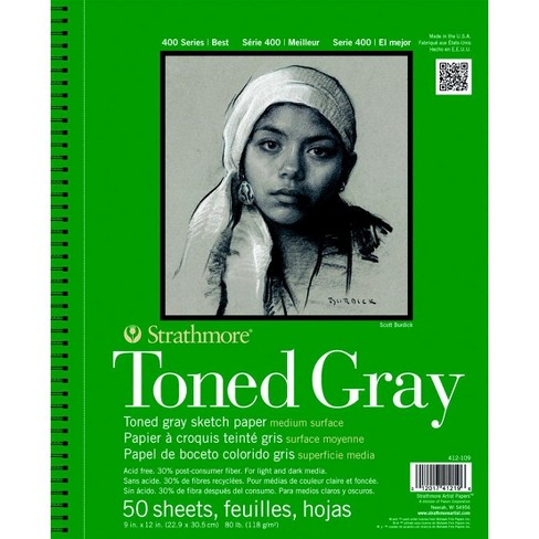 Strathmore 400 Series Toned Gray Drawing Pad, 9 x 12 Inches, 80 lb, 50 Sheets - image 1 of 2