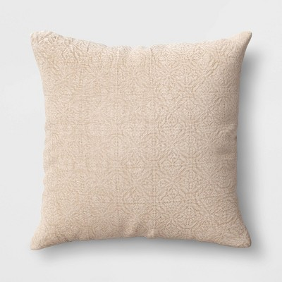 Oversized Quilted Geo Square Throw Pillow Neutral - Threshold™