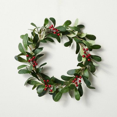 """12.5"""" Mini Faux Mistletoe Plant Wreath with Red Berries - Hearth & Hand™ with Magnolia"""