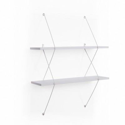 Contemporary Two Level White Shelving System with White Wire Brackets - Danya B.