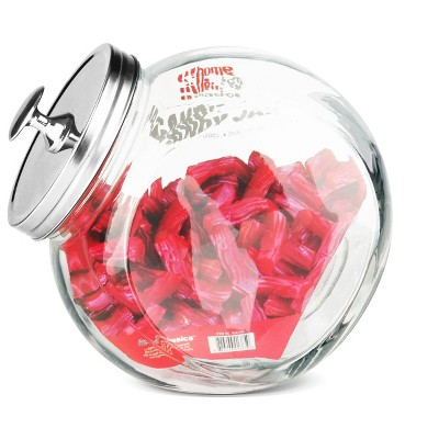 Home Basics Large 91 oz. Round Glass Candy Storage Jar with Stainless Steel Top, Clear