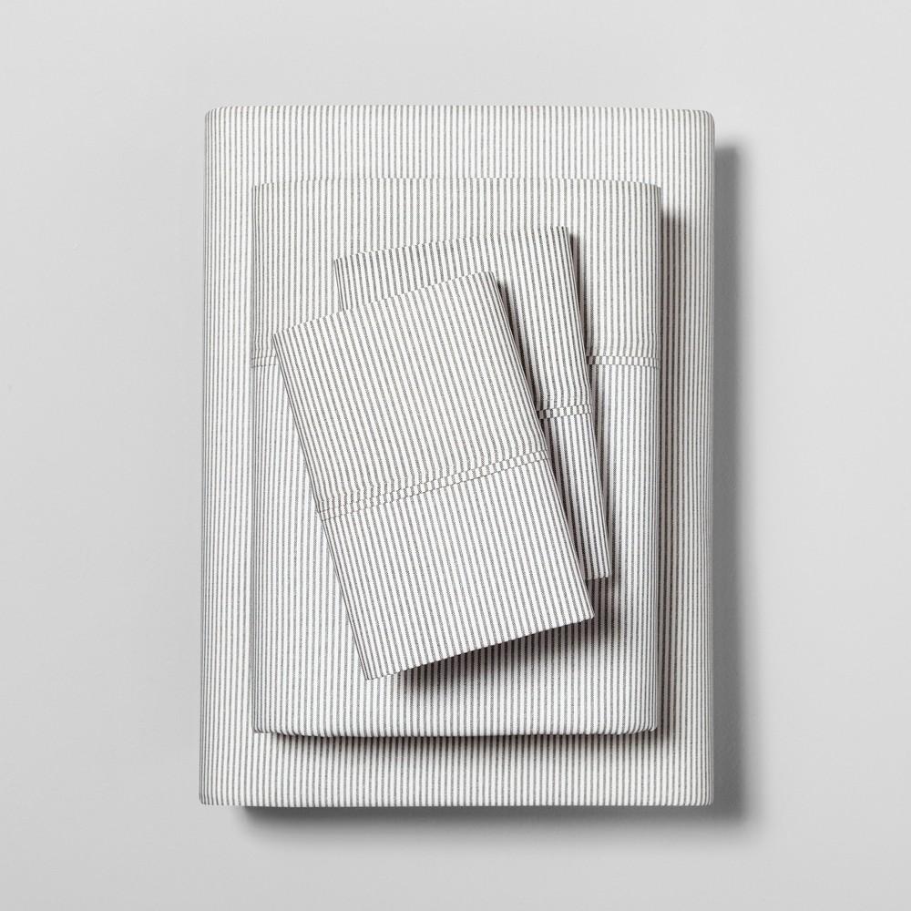 Image of Twin Sheet Set Organic Microstripe Railroad Gray / Sour Cream (Railroad Gray/Sour Cream) - Hearth & Hand with Magnolia
