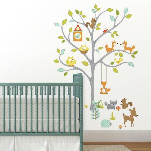 Woodland Fox and Friends Tree Peel and Stick Wall Decal - RoomMates - image 1 of 4
