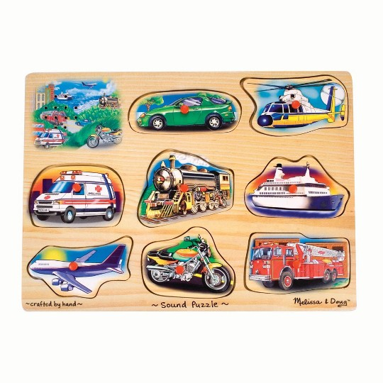 Melissa And Doug Vehicle Puzzle Wooden Peg Sound Puzzle 8pc image number null
