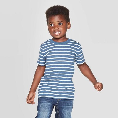 Toddler Boys' Striped Short Sleeve T-Shirt - Cat & Jack™ Blue - image 1 of 3