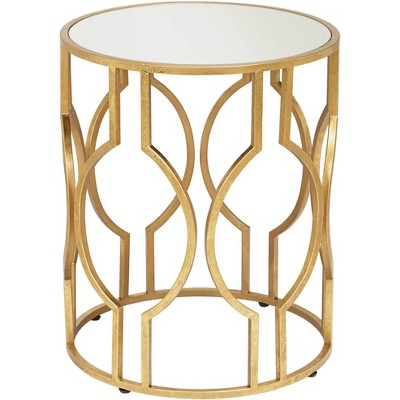 "55 Downing Street Fara 20"" Wide Gold and Mirrored Top Round End Table"