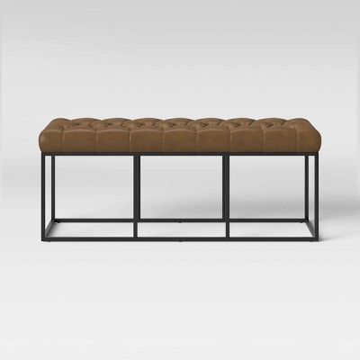 Trubeck Tufted Metal Base Bench Faux Leather - Project 62™