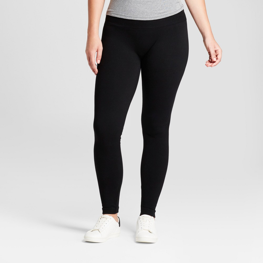Women's Solid Cotton Blend Twill Seamless Leggings with 5 Waistband - A New Day Black S/M