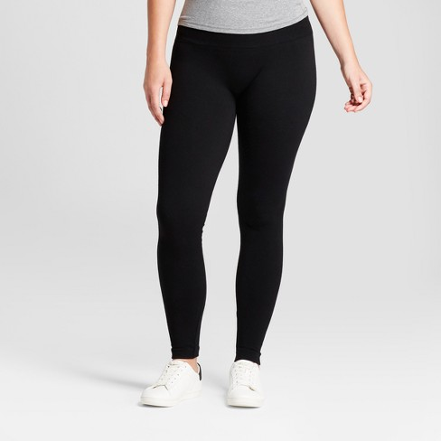 "Women's Solid Cotton Blend Twill Seamless Leggings with 5"" Rise - A New Day™ Black - image 1 of 2"