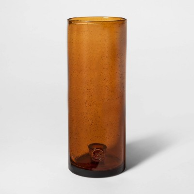 12.7  x 5  Glass Hurricane Taper Candle Holder Amber - Smith & Hawken™