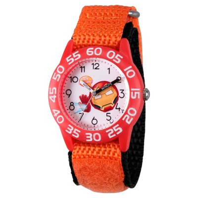 Boys' Marvel Emoji Iron Man  Plastic Time Teacher Watch - Orange