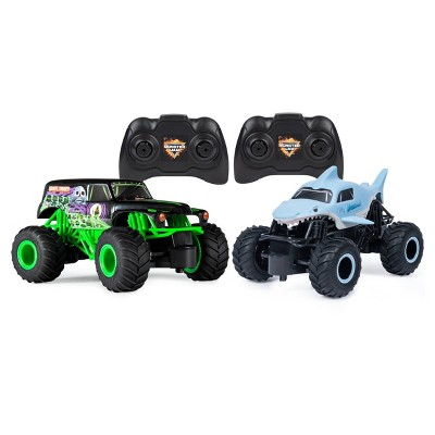Monster Jam Official Grave Digger vs Megalodon Racing Rivals Remote Control Monster Trucks - 1:24 scale - 2 pk