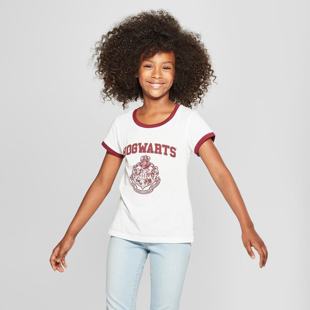 Girls' Harry Potter Hogwarts Short Sleeve Ringer T-Shirt - White XS