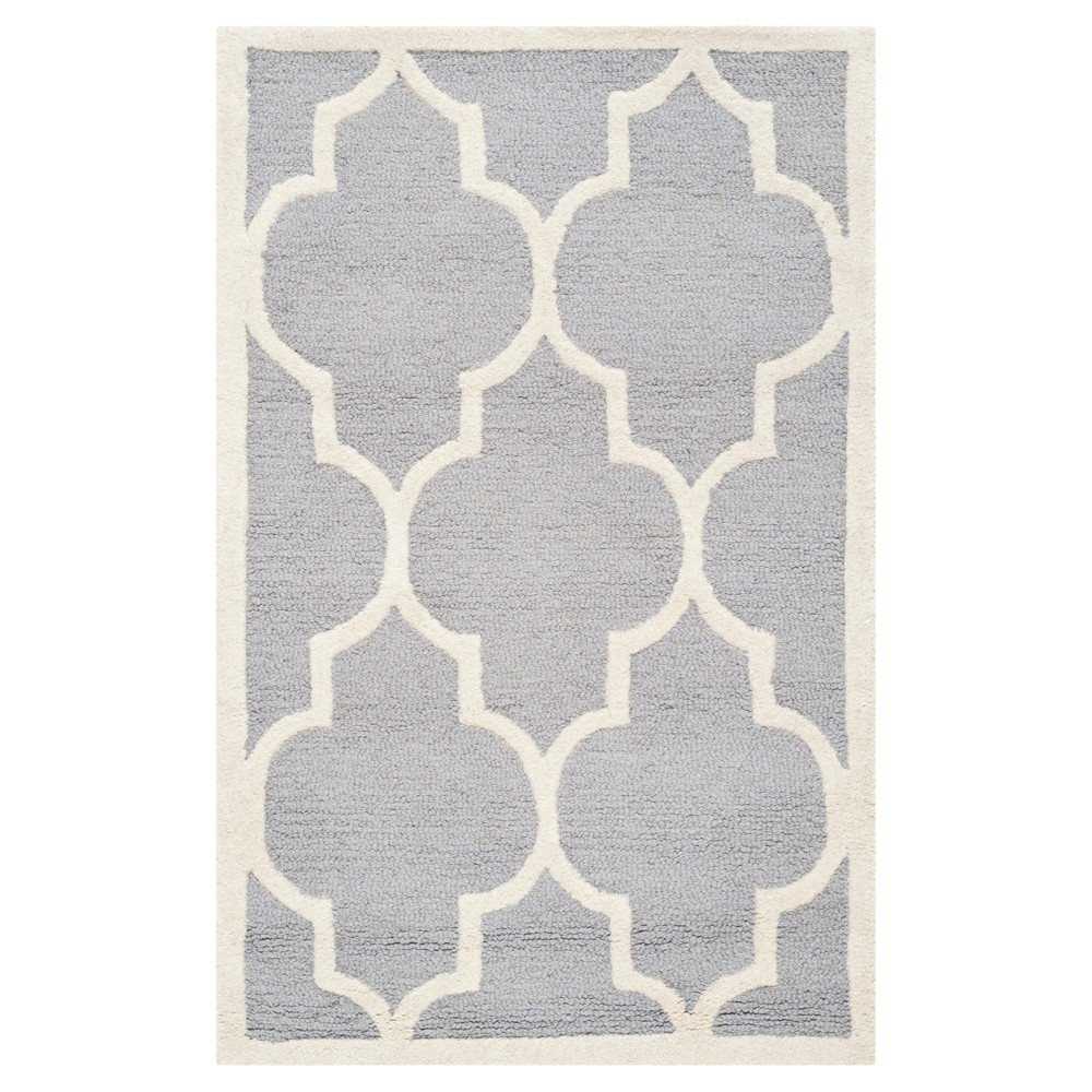 2'6X4' Geometric Accent Rug Silver/Ivory - Safavieh