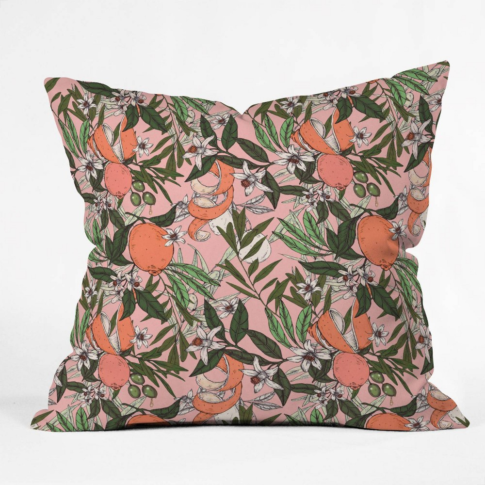 Marta Barragan Camarasa Olives In The Flowers Square Throw Pillow Pink Deny Designs
