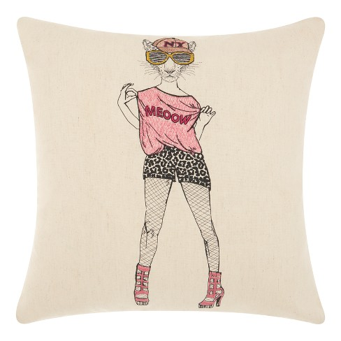 Cream Leopards Throw Pillow - Mina Victory - image 1 of 2