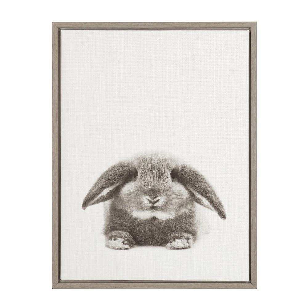 "Image of ""24"""" x 18"""" Rabbit Framed Canvas Art Gray - Uniek"""