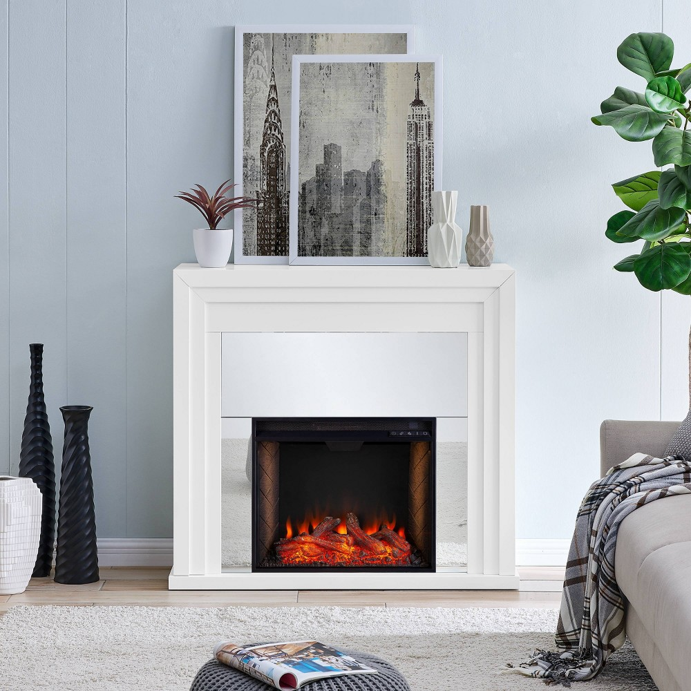 Swanmoor Mirrored Fireplace with Alexa Firebox - Aiden Lane, White
