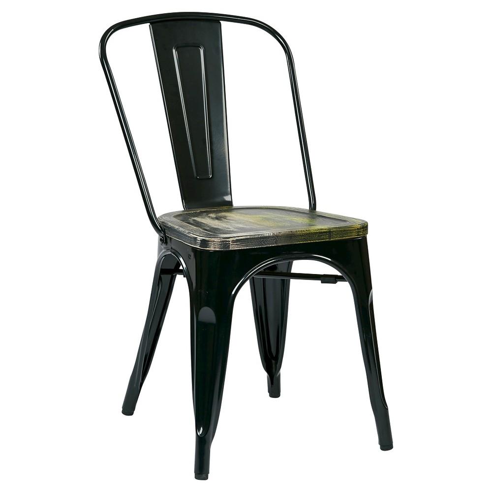 Set of 2 Bristow Metal Chair with Vintage Distressed Wood Seat Brown - Osp Home Furnishings, Black