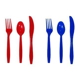 24ct Red & Blue Plastic Cutlery  - Sun Squad™