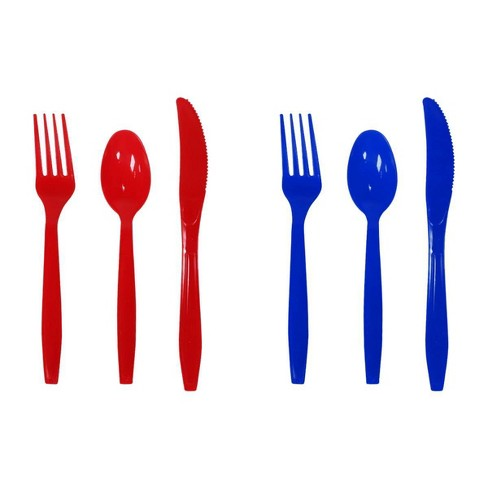 24ct Red & Blue Plastic Cutlery  - Sun Squad™ - image 1 of 1