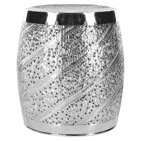 Liam Etched Stool Nickel Plated - Safavieh® - image 1 of 3