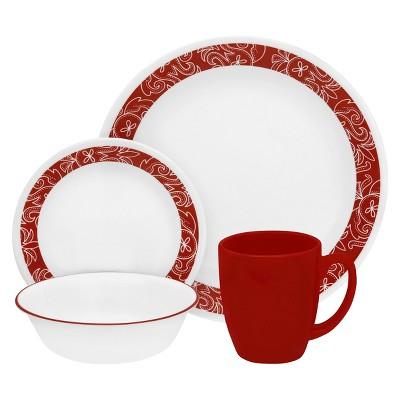 Corelle Livingware 16pc Dinnerware Set Bandhani Red