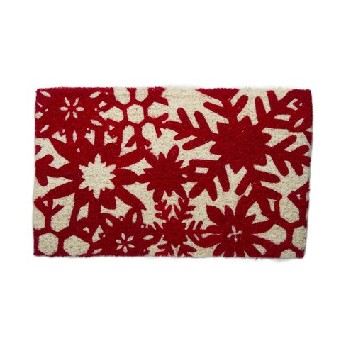 """TAG 1'6"""" x 2'6"""" Snowfall Snowflakes Holiday Winter Coir Doormat Indoor Outdoor Welcome Mat - image 1 of 3"""