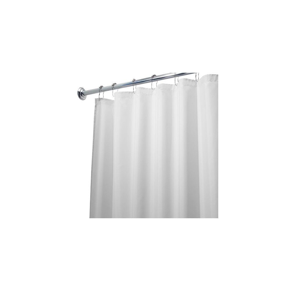 Image of InterDesign Waterproof Polyester Shower Curtain/Liner, White