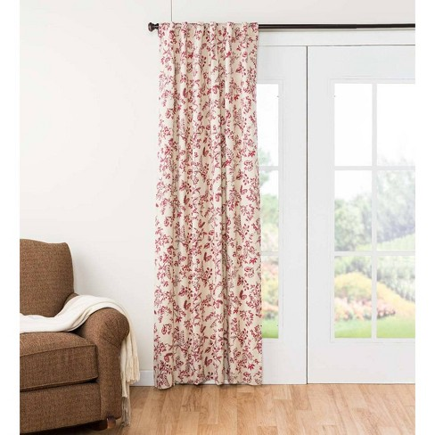 """Botanical Toile Insulated Double-Lined Curtain Panel, 42"""" W X 54"""" L, Cranberry - Plow & Hearth - image 1 of 2"""