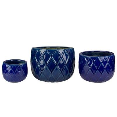 "Napa Home & Garden Set of 3 Blue Textured Planter Set 11"""