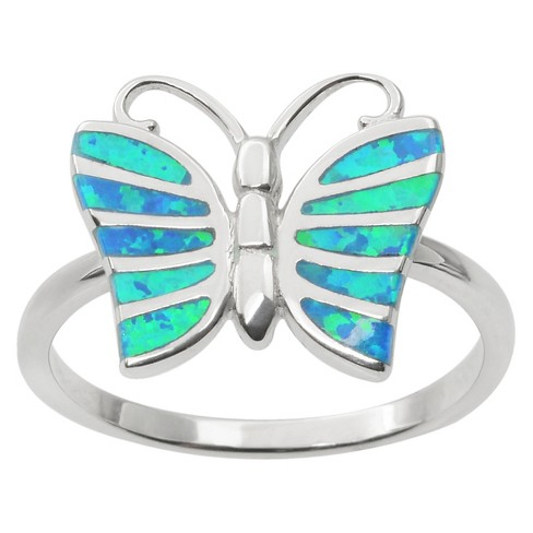 4/5 CT. T.W. Rectangle-Cut Opal Butterfly Inlaid Ring in Sterling Silver - Blue - image 1 of 3