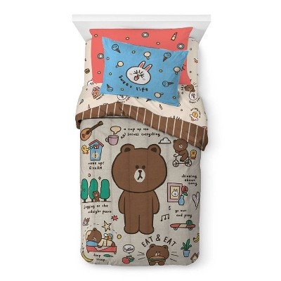 Twin Line Friends Day of Brown Comforter
