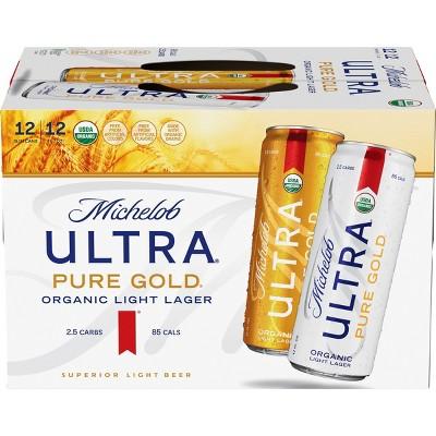 Michelob Ultra Pure Gold Organic Light Beer - 12pk/12 fl oz Slim Cans