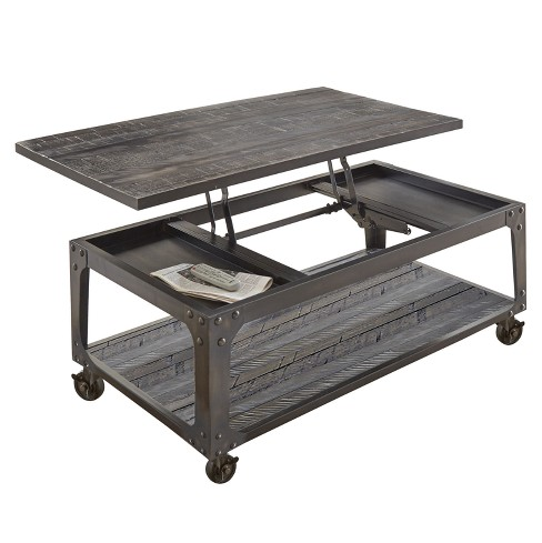 Sherlock Lift Top Cocktail Table With Casters Antiqued Tobacco