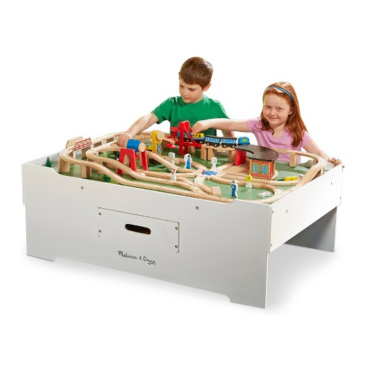 Melissa & Doug Deluxe Wooden Multi-Activity Play Table - For Trains, Puzzles, Games, More image number null