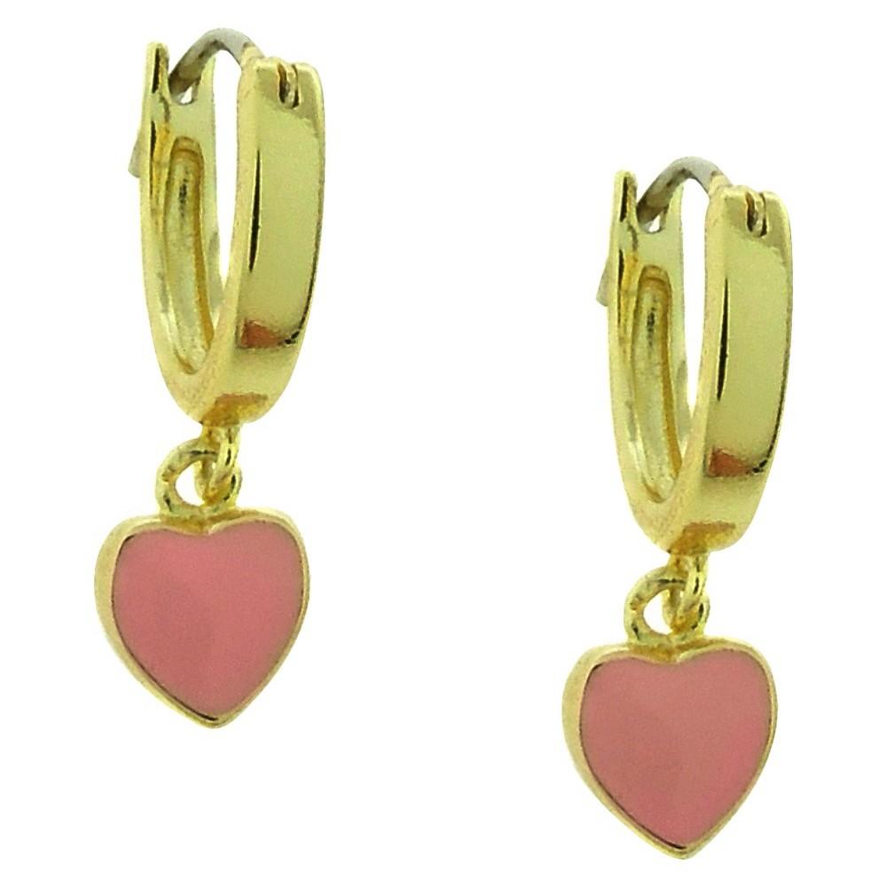 Target Ellen 18k Gold Overlay Heart Dangle Hoops - Pink, ...