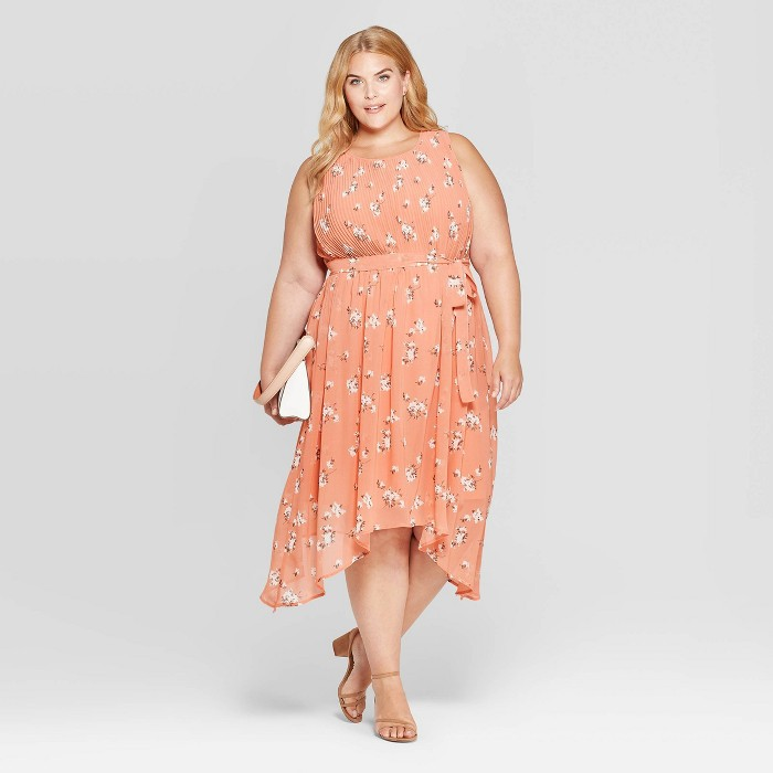 Women's Plus Size Floral Print Sleeveless Crewneck Pleated Midi Dress - Ava & Viv™ Apricot - image 1 of 3