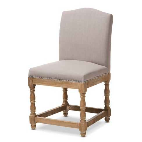 Paige French Vintage Cottage Weathered Oak Wood Finish and Fabric Upholstered Dining Side Chair - Beige - Baxton Studio - image 1 of 4