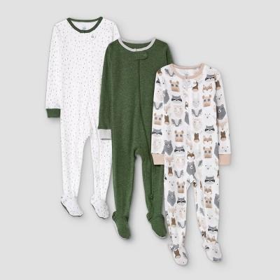 Baby Boys' 3pk Little Cub Tight Fit Sleep N' Play - Cloud Island™ Olive Green