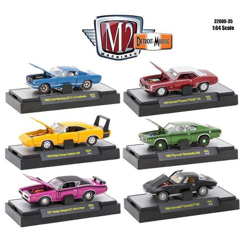 detroit muscle 6 cars set release 35 in display cases 1/64 diecast