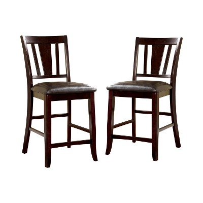 Set of 2 GlaivewoodBarred Back Leatherette Padded Counter Height Barstools Espresso - HOMES: Inside + Out