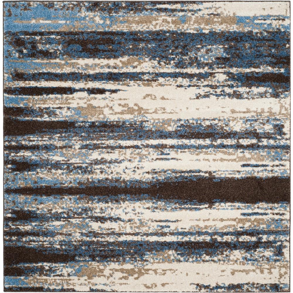 4'X4' Stripe Loomed Square Area Rug Cream/Blue - Safavieh, Beige