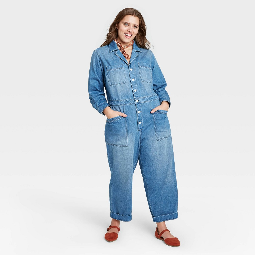 Vintage Overalls 1910s -1950s History & Shop Overalls Womens Plus Size Long Sleeve Collared Boilersuit - Universal Thread Indigo 14W $34.99 AT vintagedancer.com