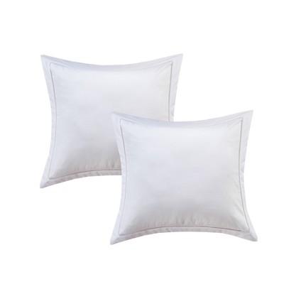 Euro 2pk Hemstitch Pillow Sham White - Luxury Hotel