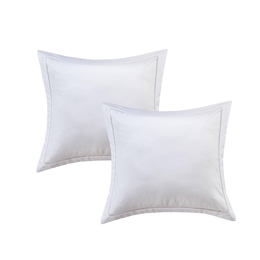 Image of Euro 2pk Hemstitch Pillow Sham White - Luxury Hotel