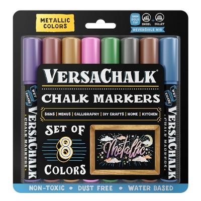 8ct Chalk Markers Reversible Nib Metallic - VersaChalk