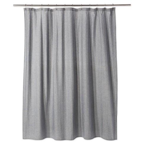 Woven Herringbone Shower Curtain Gray